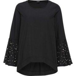 Bluzka tunikowa z perełkami bonprix czarny. Czarne bluzki z odkrytymi ramionami bonprix. Za 99,99 zł.