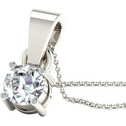 Naszyjniki damskie: Srebrny naszyjnik z diamentem – dł. 40 cm