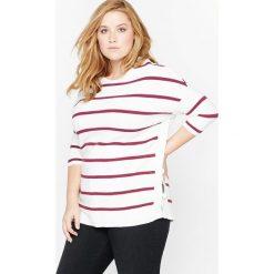 Sweter w paski z rękawem o długości 3/4. Szare kardigany damskie marki La Redoute Collections, m, z bawełny, z kapturem. Za 136,50 zł.