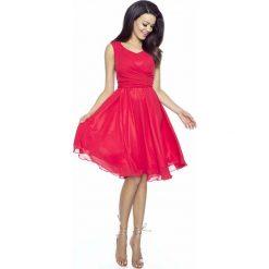 Czerwona Sukienka Koktajlowa z Szyfonu. Czerwone sukienki balowe marki Molly.pl, na imprezę, l, z satyny, na ramiączkach, dopasowane. Za 198,90 zł.