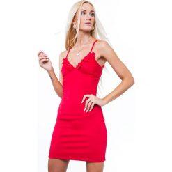Sukienki: Sukienka mini dopasowana czerwona ZZ314