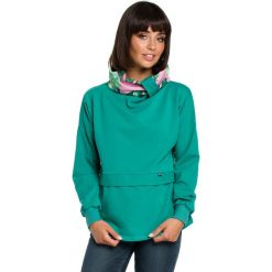 Zielona Ciekawa Bluza Dresowa z Wzorzystym Kołnierzem. Zielone bluzy damskie Molly.pl, l, w kolorowe wzory, z dresówki. Za 124,90 zł.