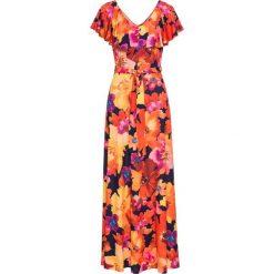 Sukienka z falbaną i paskiem bonprix żółto-czerwony. Czerwone sukienki hiszpanki bonprix. Za 149,99 zł.