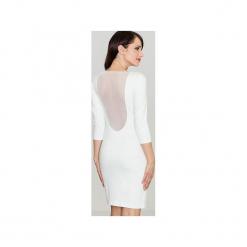 Sukienka K317 Ecru. Brązowe sukienki mini marki Lenitif, na co dzień, s, z dekoltem na plecach. Za 129,00 zł.
