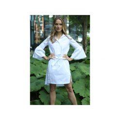 Sukienka Laure. Białe sukienki balowe Martino demi, do pracy, l, w paski, z bawełny, z klasycznym kołnierzykiem. Za 509,15 zł.