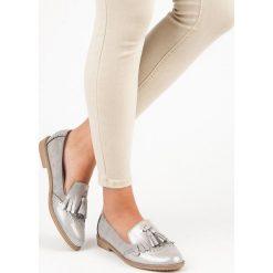 Mokasyny damskie: Bestelle stylowe damskie mokasyny odcienie szarości i srebra