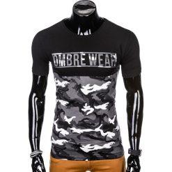 T-SHIRT MĘSKI Z NADRUKIEM S1008 - SZARY/MORO. Zielone t-shirty męskie z nadrukiem marki Ombre Clothing, na zimę, m, z bawełny, z kapturem. Za 35,00 zł.