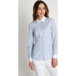 Błękitna koszula w paski BIALCON. Koszule w niebieskie paski BIALCON, biznesowe. W wyprzedaży za 172,00 zł.