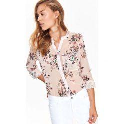 BLUZKA DŁUGI RĘKAW DAMSKA, W KWIATY. Szare bluzki koszulowe Top Secret, w kwiaty, z długim rękawem. Za 64,99 zł.