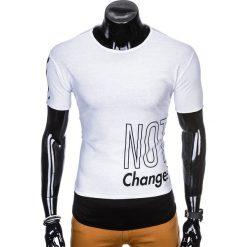 T-SHIRT MĘSKI Z NADRUKIEM S981 - BIAŁY. Białe t-shirty męskie z nadrukiem Ombre Clothing, m. Za 29,00 zł.