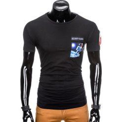 T-shirty męskie: T-SHIRT MĘSKI Z NADRUKIEM S876 – CZARNY