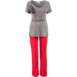Piżama dla ciężarnych i karmiących (2 części) bonprix szary melanż - czerwony. Szare piżamy damskie bonprix, melanż, z bawełny, moda ciążowa. Za 89,99 zł.