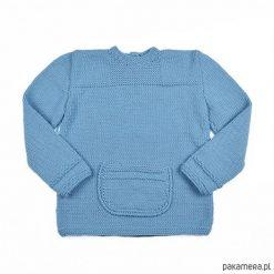 Sweter z kieszonką Merynos Dziecięcy. Niebieskie swetry klasyczne damskie Pakamera, z wełny. Za 289,00 zł.