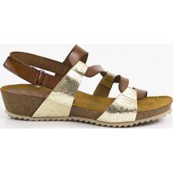 Sandały damskie: Skórzane sandały w kolorze brązowo-złotym