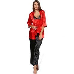 Piżamy damskie: Piżama w kolorze czerwono-czarnym - koszulka, spodnie, szlafrok