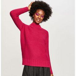Swetry klasyczne damskie: Sweter ze stójką - Fioletowy