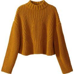 Sweter z gofem z grubej dzianiny. Szare golfy damskie marki La Redoute Collections, m, z bawełny, z kapturem. Za 141,08 zł.