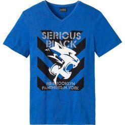 T-shirty męskie z nadrukiem: T-shirt Slim Fit bonprix lazurowy