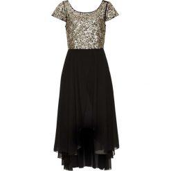 Sukienka wieczorowa bonprix czarno-złoty. Czarne długie sukienki marki bonprix, z szyfonu, wizytowe, z długim rękawem, rozkloszowane. Za 189,99 zł.