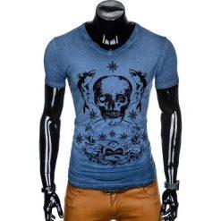 T-SHIRT MĘSKI Z NADRUKIEM S888 - GRANATOWY. Czarne t-shirty męskie z nadrukiem marki Ombre Clothing, m, z bawełny, z kapturem. Za 39,00 zł.