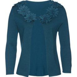 Sweter rozpinany z kwiatową aplikacją bonprix niebieskozielony. Niebieskie kardigany damskie bonprix, z aplikacjami. Za 129,99 zł.