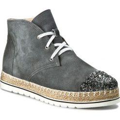 Botki NEŚCIOR - 098-B Grafit Zamsz/Czar.Pa. Szare buty zimowe damskie Neścior, z materiału. W wyprzedaży za 259,00 zł.