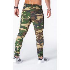 SPODNIE MĘSKIE JOGGERY P670 - MORO. Zielone joggery męskie marki Ombre Clothing, na zimę, m, z bawełny, z kapturem. Za 75,00 zł.