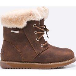 Emu Australia - Botki Shoreline Leather. Brązowe buty zimowe damskie EMU Australia, z materiału, z okrągłym noskiem, na obcasie, na sznurówki. W wyprzedaży za 399,90 zł.