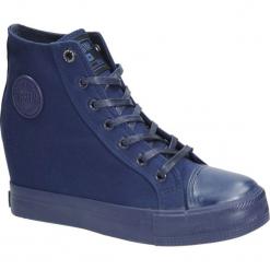 Granatowe trampki sznurowane na koturnie Big Star AA274A090. Szare buty ślubne damskie marki Kazar, ze skóry, na wysokim obcasie, na obcasie. Za 108,99 zł.