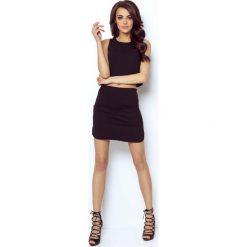 Czarna Asymetryczna Mini Spódnica na Gumie. Czarne minispódniczki marki Molly.pl, l, z bawełny, eleganckie, z podwyższonym stanem, asymetryczne. Za 78,90 zł.