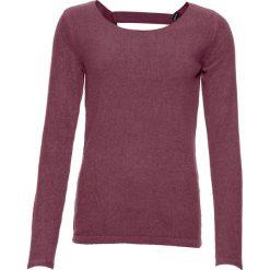 Odzież damska: Sweter z szenili z perełkami bonprix matowy jeżynowy