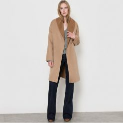 Płaszcze damskie pastelowe: Dwukolorowy płaszcz z paskiem, 70% wełny