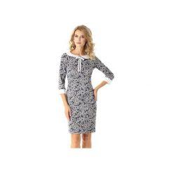 Dopasowana sukienka z kołnierzykiem Flora listki ED025-2. Czarne sukienki z falbanami marki Ella dora, xl, w koronkowe wzory, z koronki, z falbankami, dopasowane. Za 219,00 zł.