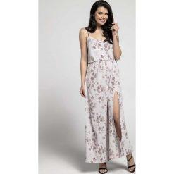 Kwiatowa Zwiewna Maxi Sukienka na Cienkich Ramiączkach z Rozcięciem. Brązowe długie sukienki marki Molly.pl, na co dzień, l, z długim rękawem, oversize. W wyprzedaży za 139,41 zł.