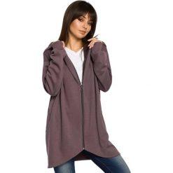 MIRACLE Długa zasuwana bluza z kapturem - brązowa. Brązowe bluzy rozpinane damskie BE, l, z dzianiny, z długim rękawem, długie, z kapturem. Za 179,90 zł.