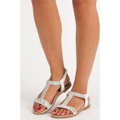 Sandały damskie: DESTINA eleganckie sandałki na gumkę białe