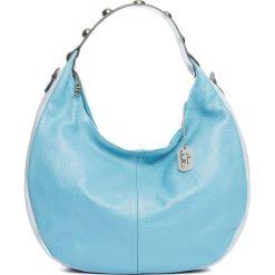 Torebki klasyczne damskie: Skórzana torebka w kolorze błękitnym – 38 x 27 x 10 cm