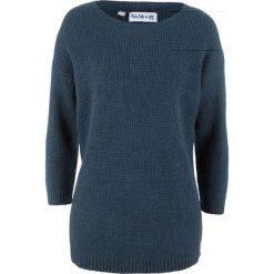 Sweter z rękawami 7/8, z kolekcji Maite Kelly bonprix ciemnoniebiesko-jasnoróżowy. Niebieskie swetry klasyczne damskie bonprix. Za 89,99 zł.