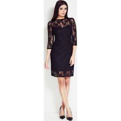 Sukienka z koronki awa-s17. Czarne sukienki koktajlowe marki Awama, s, w koronkowe wzory, z koronki, midi, dopasowane. Za 99,00 zł.