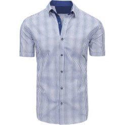 Koszule męskie na spinki: Granatowo-szara koszula męska w kratę (kx0846)
