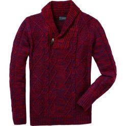 Swetry męskie: Sweter z szalowym kołnierzem Regular Fit bonprix ciemnoczerwono-ciemnoniebieski melanż