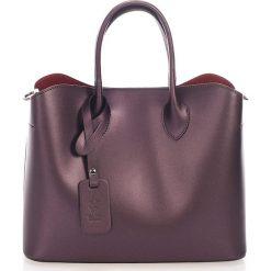 Torebki klasyczne damskie: Skórzana torebka w kolorze śliwkowym – 32 x 14 x 25 cm