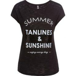 T-shirty damskie: T-shirt z cekinami bonprix czarny z nadrukiem