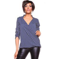 """Koszulka """"Grace"""" w kolorze granatowo-białym. Niebieskie bluzki damskie marki La Belle Française, s, w paski, z kopertowym dekoltem. W wyprzedaży za 130,95 zł."""