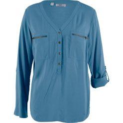 Bluzki asymetryczne: Bluzka z wiskozy, długi rękaw bonprix niebieski dżins