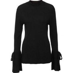 Sweter z rozkloszowanymi rękawami bonprix czarny. Czarne swetry klasyczne damskie bonprix. Za 89,99 zł.