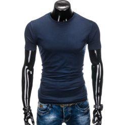 T-shirty męskie: T-SHIRT MĘSKI BEZ NADRUKU S884 – GRANATOWY