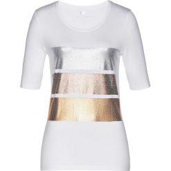 T-shirt bonprix biało-srebrny. Białe t-shirty damskie bonprix, z nadrukiem. Za 54,99 zł.