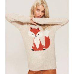 Sweter z lisem - Kremowy. Białe swetry klasyczne damskie House, l. Za 89,99 zł.