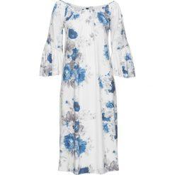 Długie sukienki: Długa sukienka shirtowa bonprix biel wełny - niebieski z nadrukiem